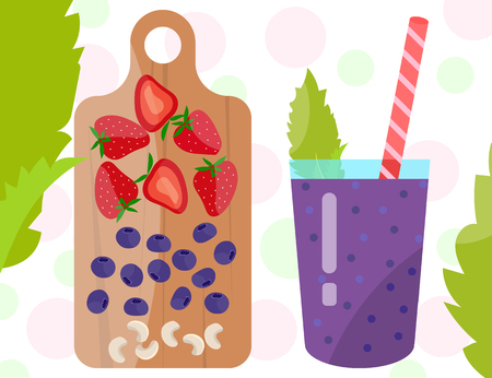 Flat designed smoothie with blueberry, strawberry and cashew on a wooden cutting board