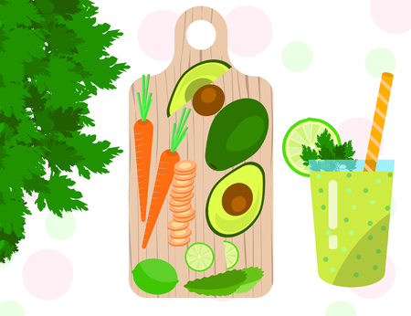 Flat design smoothie with avocado, carrot and lime on a wooden cutting board
