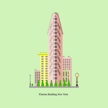 Flatiron building in New York City. Vector illustration of famous building