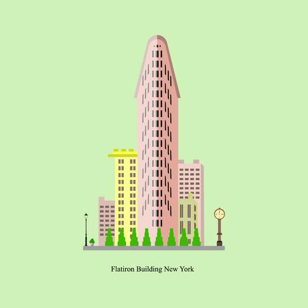 Flatiron-gebouw in de Stad van New York. Vectorillustratie van beroemd gebouw