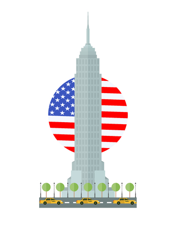 Flat design Empire State Building in New York, Manhattan