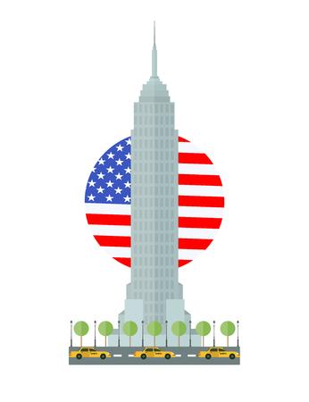 Flat design Empire State Building in New York, Manhattan