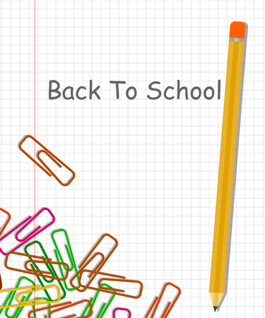 Back to school background with pencil and colorful clips