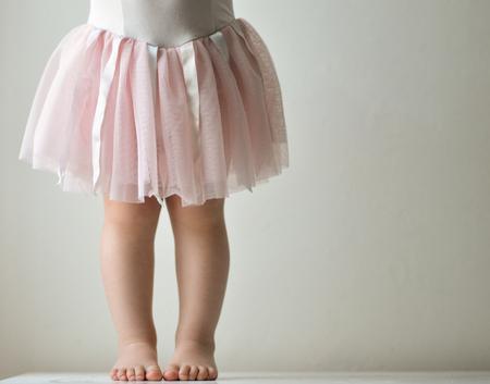 tutu: toddler in pink tutu (cropped) Stock Photo