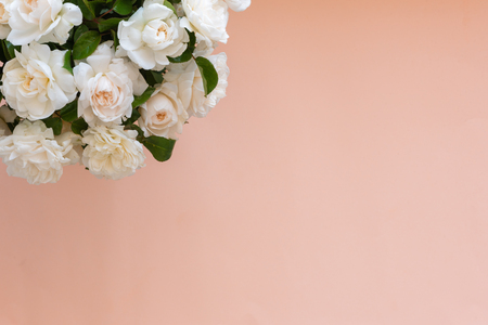 High angle view of bouquet of cream English roses over apricot background with copy space (selective focus) Foto de archivo