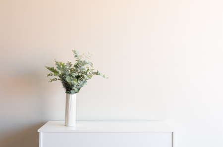 Eucalyptus leaves in tall white vase on sideboard against neutral wall background with copy space (selective focus)