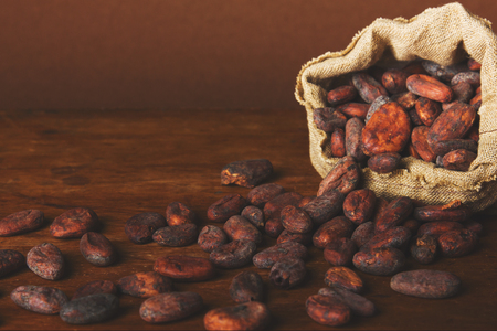 Cacao beans on wooden background