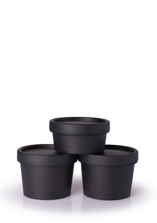 Black plastic cosmetic jar for cream, butter, scrub, gel, powder, wax. Isolated on white