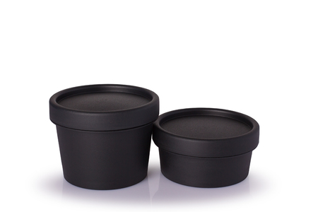 Black plastic cosmetic jar. isolated on white background