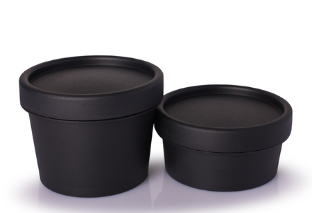 Black plastic cosmetic jar