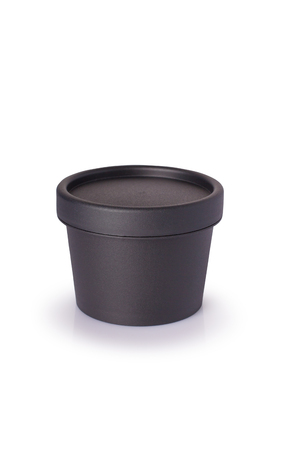 Black plastic cosmetic jar for cream, butter, scrub, gel, powder, wax. isolated on white.