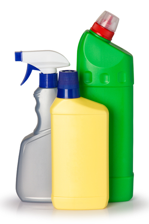 plastic bottles of cleaning product. isolated on white background Reklamní fotografie