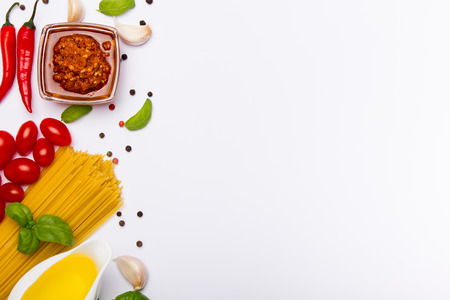 Italian food ingredients isolated on white