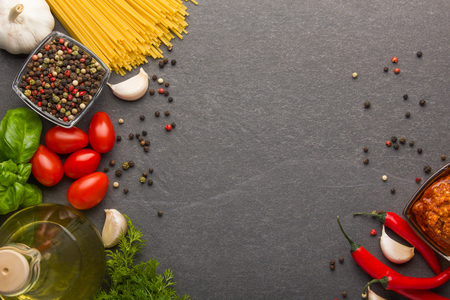 Italian food ingredients on wooden table