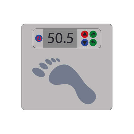 Floor scales for measuring body weight. Vector image.