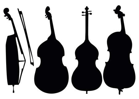 Double basses in the set. Musical instrument.