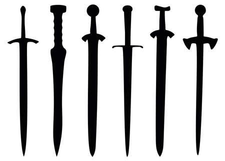 Vintage swords in the set. Weapons for combat. Vecteurs