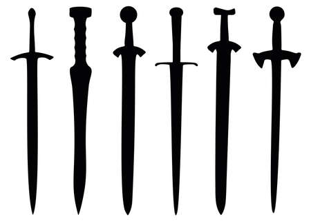 Vintage swords in the set. Weapons for combat. Vektorové ilustrace