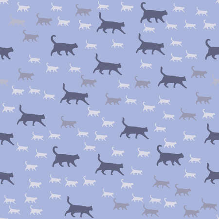 Seamless pattern of black cats. Pattern in the form of cats that walk and stand. Vector image.