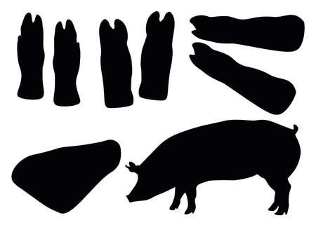 Pig hooves, pork knuckle and pig. Meat set for jelly.