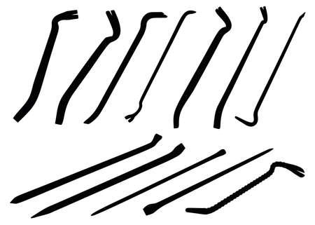 Crowbar and nailer included. Dismantling tools. Illusztráció