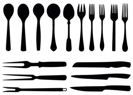 Spoons, forks and knives in a set. Vector Illustratie