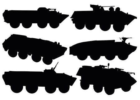 Armored personnel carriers in the set. Military equipment. Vector Illustration