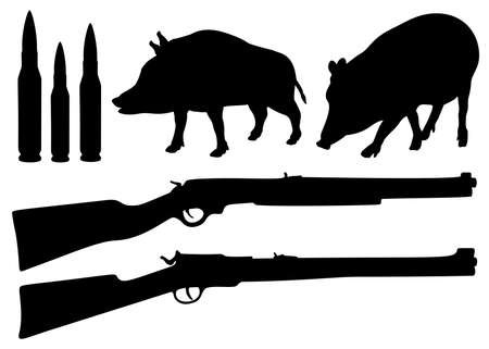 Hunting for wild boars, a set of weapons and wild boars.