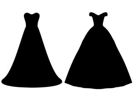 Long ballroom and wedding dresses for women in a set. Vektorgrafik