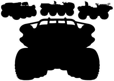 All-terrain vehicles in the set. Military equipment. Vector image.