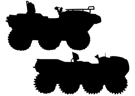 Military all-terrain vehicles in a set. Vector image.