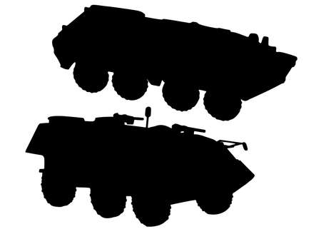 Military armored personnel carriers in the set. Military equipment. Vector image. Banque d'images - 167038375