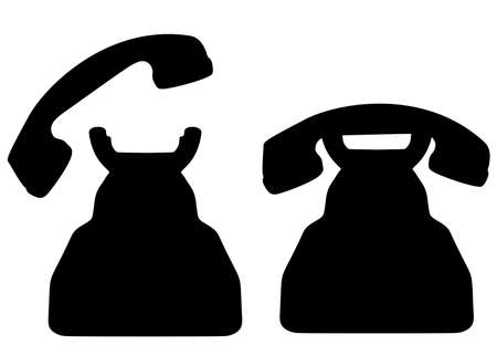 Telephone and handset included. Vector image.