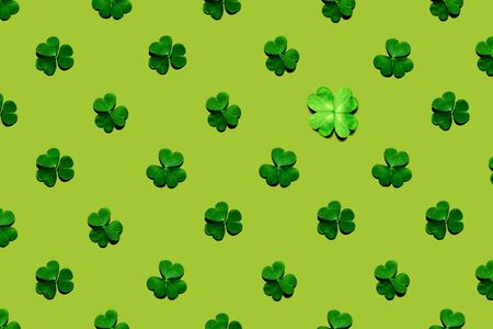 Pattern of shamrock and clover leaves on yellow-green background. St. Patrick's Day, selective focus.
