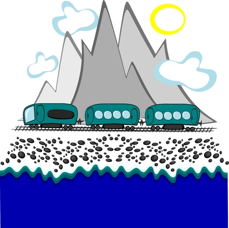 Art, illustration - Train travel - the train goes against the backdrop of mountains and the sea 写真素材