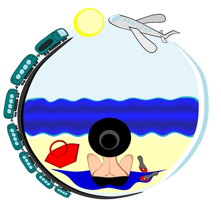 Travel - I want to go to the sea - a picture on a round background on which a woman in a bathing suit and hat sits with her back to the viewer and looks at the sea, along the contour of the picture a train rides and a plane flies
