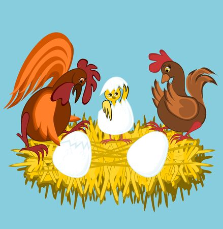 Chicken and Rooster are sitting on the nest and are watching with surprise and joy as their chickens hatch from the eggs - image on a blue background, graphics, children s illustration Stok Fotoğraf