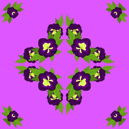 Square postcard of purple pansies on a pink background. Kaleidoscope, pattern, rosette, illustration, graphics