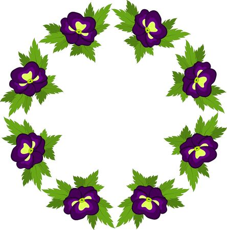 A circle of purple pansies on a white background. Kaleidoscope, pattern, rosette, illustration, graphics
