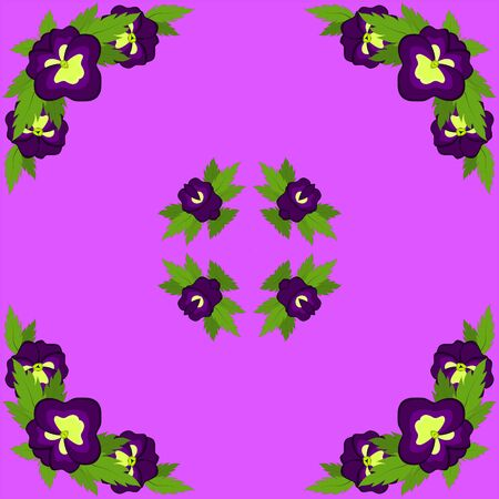 Square postcard of purple pansies on a pink background. Kaleidoscope, pattern, rosette, illustration, graphics Archivio Fotografico - 126141089
