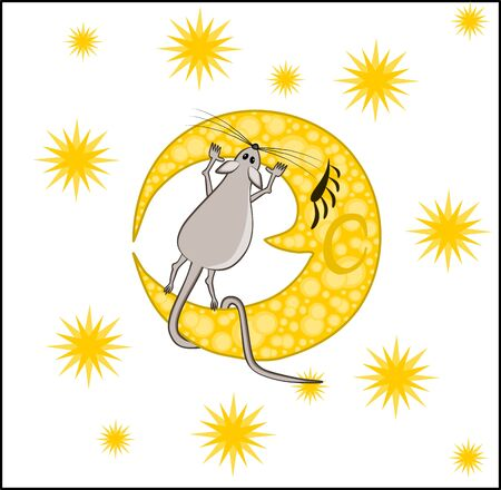 Chinese horoscope - the year of the rat. The gray rat stands on the yellow moon and tries to bite it off, thinking that it is cheese - the moon against the background of the starry sky. Illustration on white background
