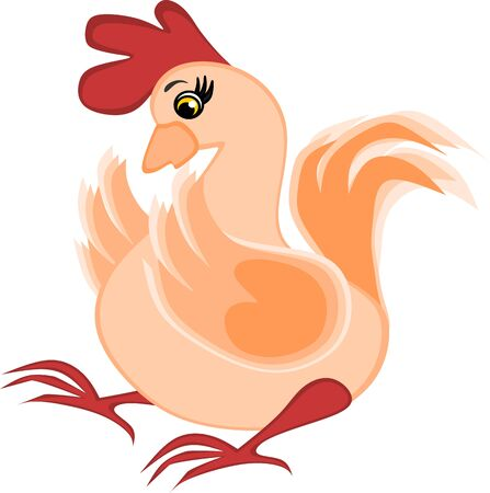 Childrens illustration, graphics - surprised rooster, chicken, poultry - shock stress Stock Photo