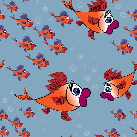 Childrens illustration, design, pattern a surprised flock of goldfish with purple fins on a background of blue water and bubbles