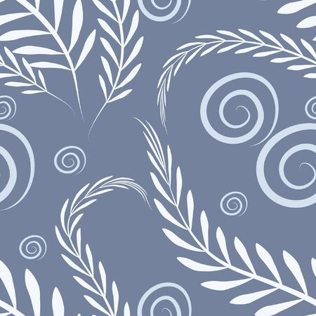 Floral pattern on a blue background - algae and bubbles. Illustration