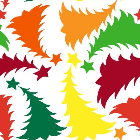 Seamless multilayer pattern of different colored New Year and Christmas trees, wallpaper, background for the site, packaging, textiles