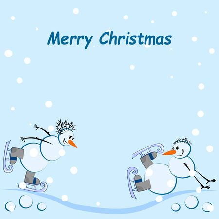 Merry Christmas square card - Two snowmen ice-skating, snowing, there is a greeting inscription