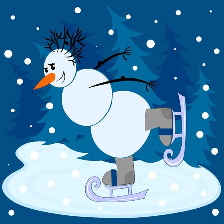 Square card - Joyful Snowman skates on a background of blue Christmas trees, it is snowing