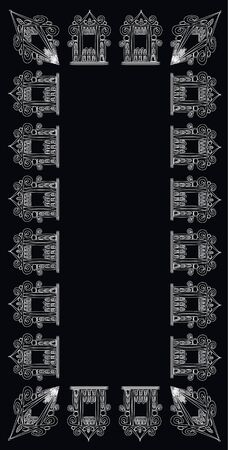 Graceful pattern of openwork houses - graphics for a card or frame.