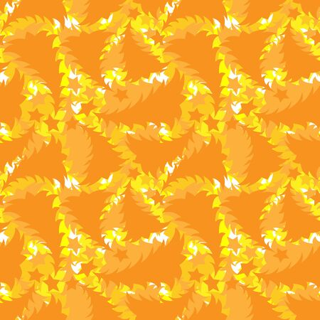 Seamless multilayer pattern of yellow and orange New Year and Christmas trees, wallpaper, background for the site, packaging, textiles