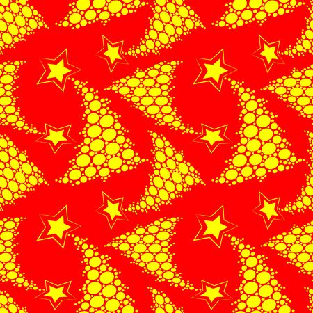 Seamless multilayer pattern of yellow New Year and Christmas trees in the lights on a red background, wallpaper, background for the site, packaging, textile